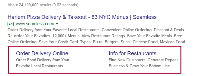 Google Ads extensions example