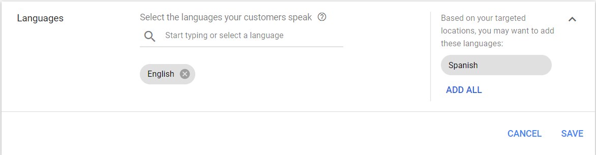 Language targeting
